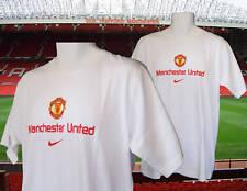 Nuevo Nike Vintage Manchester United Camiseta de Algodón Camiseta Mediana Blanco