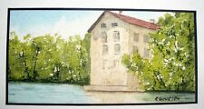 Stone Water Mill Original Miniature Watercolor Painting, Signed, Framed