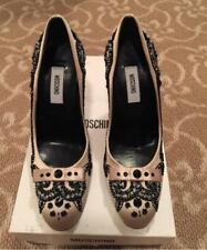 Vintage Moschino NIB Creme Satin and Beaded Shoes Size 38.5 Collectors