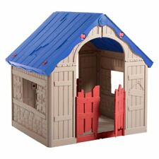 Keter Wonderfold Easy 2 Step Cottage Playhouse, Red