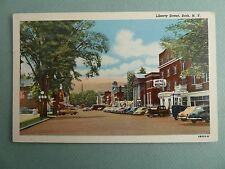 Liberty Street Downtown View BATH NEW YORK NY Pre Linen Postcard OLD CARS