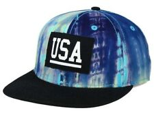 Official Brand Black & Tie Dye USA Logo Snap Back Flat Bill Cap Hat  OSFM