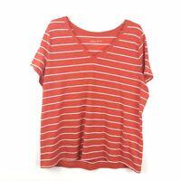 Ava & Viv Womens Plus Size 1X Orange White Striped Short Sleeve V Neck Shirt Top