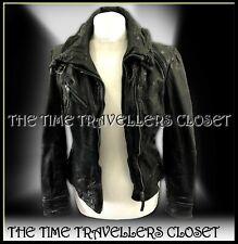 NEW All Saints Black Belvedere Aged Leather Slim Fit Biker Jacket UK 10 38 6