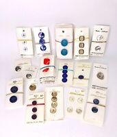 Vtg Lot 1950s & 1960s Plastic Buttons On Original Cards Streamline JBB Intl (35)