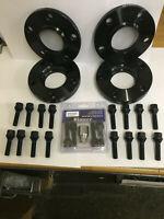 4x 15mm, Black MTEC Wheel Spacers, Radius Bolts & Locks, Audi TT A3