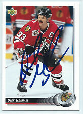 Dirk Graham signed 1992-93 Upper Deck hockey Chicago Blackhawks autograph