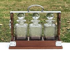 Antique Betjemann The Tantalus 3 Bottle Liquor Decanter Cabinet Caddy Set