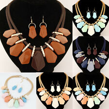 Fashion Women Resin Necklace Earrings Set Candy Color Charm Pendant  Jewelry New