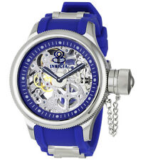 Invicta 1089 Men's Russian Diver Blue Rubber Strap Skeleton Dial Watch