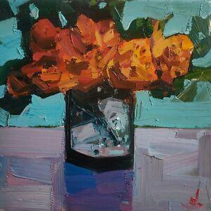 ORANGE FLOWERS OIL PAINTING BY ARTIST VIVEK MANDALIA IMPRESSIONISM 12 X 12