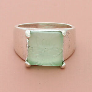 blushed sterling silver carved chalcedony flower ring size 8.5