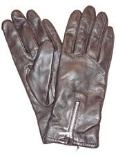 Ladies Zipper Genuine Leather Gloves, Large,Brown