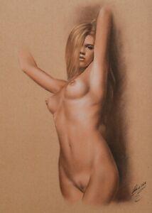 """Original   Pastel Drawing """"Brenda"""" by DP Kunst"""