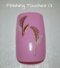 Wedding Nail Art Sticker- Shiny Metallic Gold Feather Decal #228 TJ014 Transfer