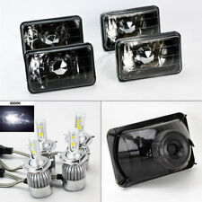 "FOUR 4x6"" Semi Sealed Glass Black Chrome Headlights w/ 6K 36W LED H4 Bulbs GMC"