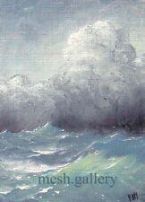 Mesheryakov ACEO ORIGINAL OIL PAINTING CONTEMPORARY  Pacific Ocean Tidal Waves