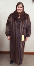 "Long Hair Beaver Fur 50"" Coat with Black/Brown Sheared Beaver Trim - size 14-16"