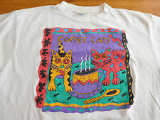 Vintage Coffee Cats T Shirt XL Made in USA Caffeine Crazed Caffeinated Feline