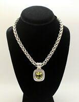 David Yurman 8mm Silver & 14k Gold Wheat Necklace with Albion Peridot Pendant