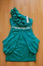 LIPSY Emerald Green One-Shoulder Dress (Size UK 8) NEW with Tags