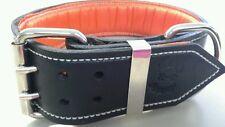 XX-Large Black Leather Dog Collar with Soft Satin Orange Padded Inner Lining