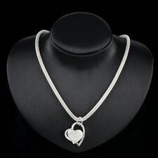 Neu Damen Silber Charm Herz-Anhänger Schöne Halskette