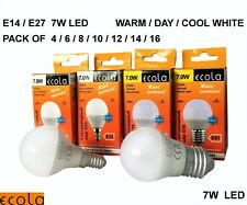 7W LED E27 ES/E14 SES G45 ECOLA GOLF BALL Small Globe Bulb Light WARM/DAY/ COOL