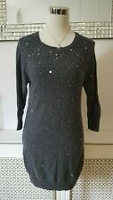 River Island Grey Wool Blend Knitted Jumper Dress Size 8