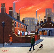 MAL.BURTON ORIGINAL OIL PAINTING. OUT FOR A BEER NORTHERN ART DIRECT FROM ARTIST