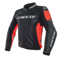 DAINESE RACING 3 BLACK / FLUO RED LEATHER MOTORCYCLE JACKET - EU 52/54/56