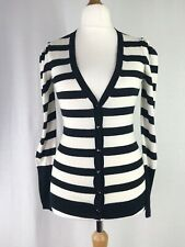 Reiss Black & White Striped Cotton & Cashmere Cardigan Size XS