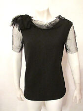 LANVIN River 2009 Wool Top Blouse Tulle Netted Draped Boatneck Sleeves sz M NWOT