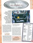 Jeep Willys 1941 USA Car Auto FICHE FRANCE