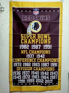 Washington Redskins Super Bowl Champions Flag 3X5 Ft NFL Banner Polyester
