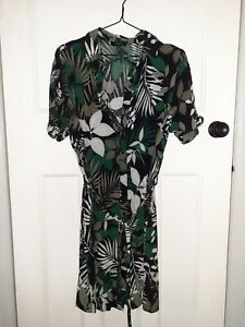 Matalan Papaya Green Leaf Jungle Print Shirt Dress With Belt Size 16