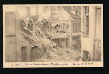 Military WW1 France BERGUES Bombardment 1915 Rue de la Gare unused PPC