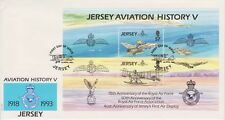 Unaddressed Jersey FDC First Day Cover 1993 Aviation History V RAF Sheet