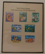 Framed 1979 Walt Disney Collectable Stamps 10th Anniversary of the Moonwalk