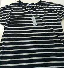 Brown Sugar Black Ivory Striped Short Sleeved Tee Top Size 14