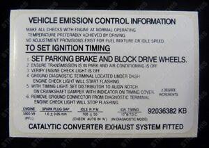 Suits Holden HSV VN VP SS  Commodore - Engine Emission Decal Sticker V8 5.0L EFI