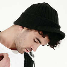 BEECHFIELD BEANIE HAT FRONT PEAK WINTER CAP SOFT HEAVY RIBBED DOUBLE LAYER KNIT