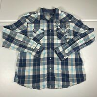 Guess Pearl Snap Button Up Shirt Size 2XL Blue Casual Western Plaid Long Mens