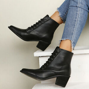 Womens Faux Pu Leather Pointed Toe Chelsea Boots Casual Lace Up Block Heels Shoe