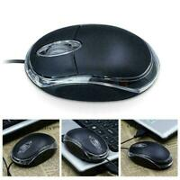 Wired USB Optical Mouse For PC Laptops Computer Scroll Wheel Black Best - S0K0