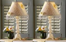 2 Country Beaded Scroll Table Lamp With Patchwork Check Floral Flower Lace Shade
