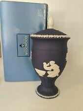 "WEDGWOOD--Portland Blue Jasperware Acanthus Vase w/ lid--8""  Tall"