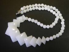 Natural White Jade Rhomb Leaf 18KWGP Clasp Necklace