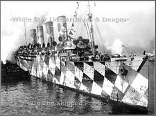Photo: Troopship Mauretania In NY After WWI With 15,000 Allied Troops