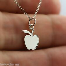 APPLE NECKLACE - 925 Sterling Silver - Apple Charm Fruit Necklace Teacher Food